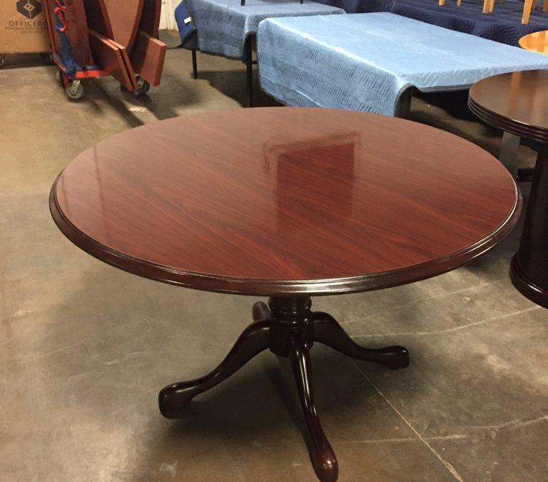 TROBRT394 Traditional Round Table with Queen Ann Base 48″D $200, 0 Available (1 on rental until 7/15/19-ish)