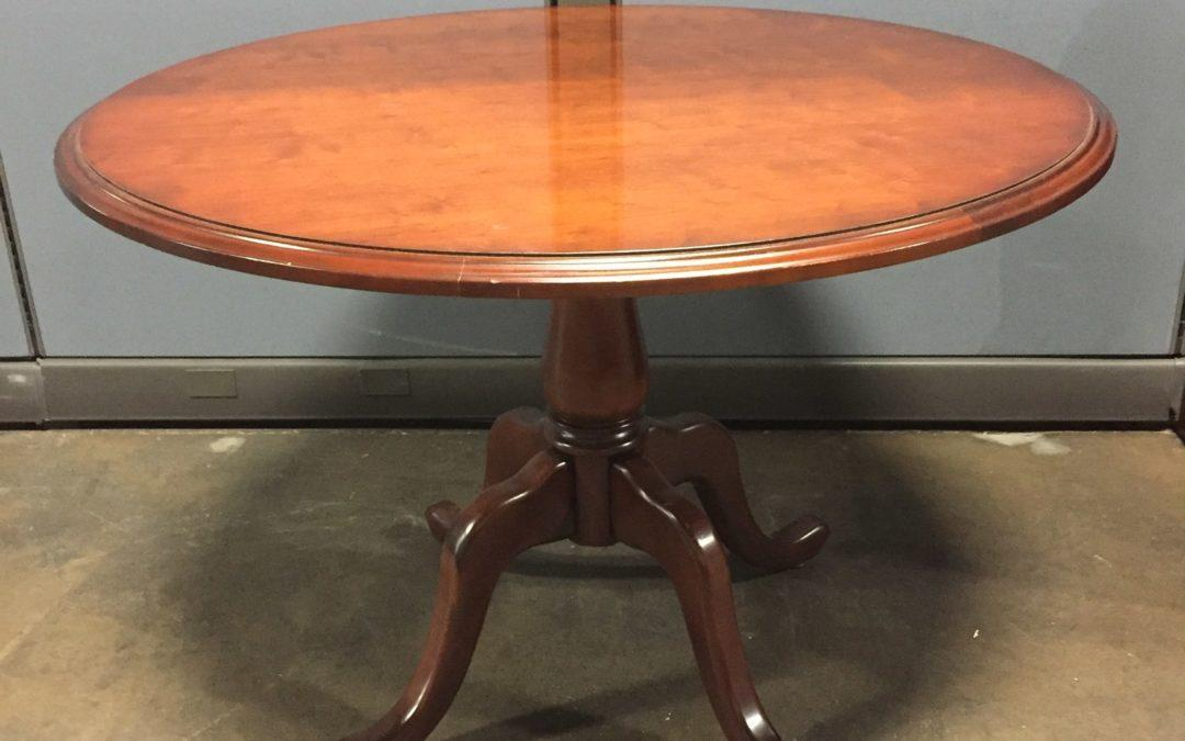 TROBRT711 Traditional Round Table with Queen Ann Base 42″D $125, 0 Available (1 on rental until 7/15/19-ish)